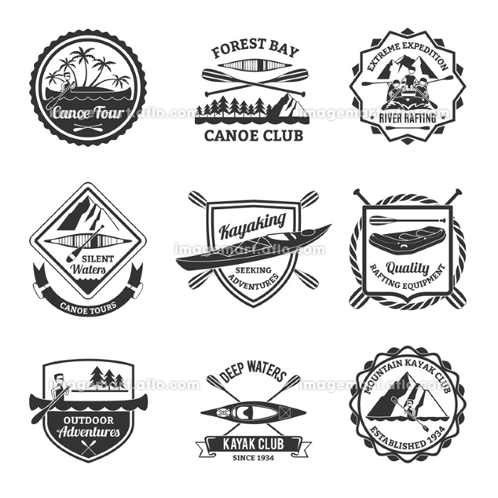 Rafting Canoeing And Kayak Emblems Set . Canoe and kayak sport clubs equipment black emblems and river rafting  labels collection abstract isolated vector illustrationの販売画像