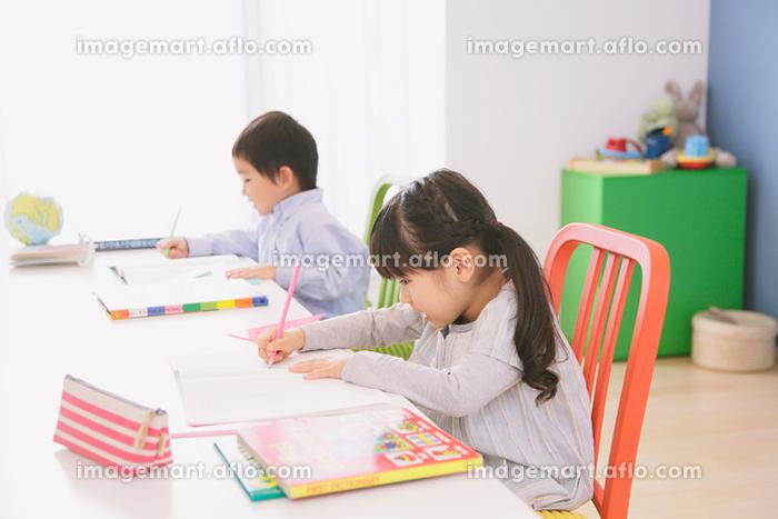 子供部屋で勉強をする兄妹の販売画像
