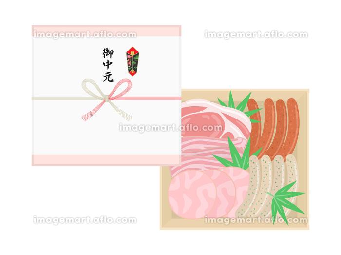 ソーセージとハムの御中元のイラストの販売画像