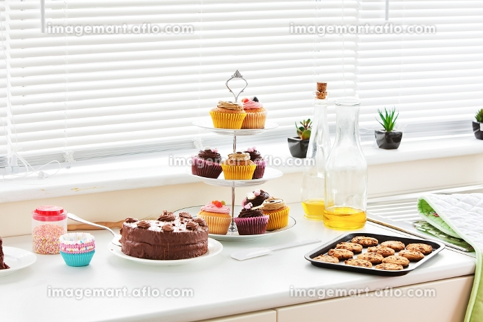 Close up of cookies and cakes in the kitchenの販売画像