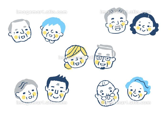 笑顔のシニアカップル 5組の販売画像