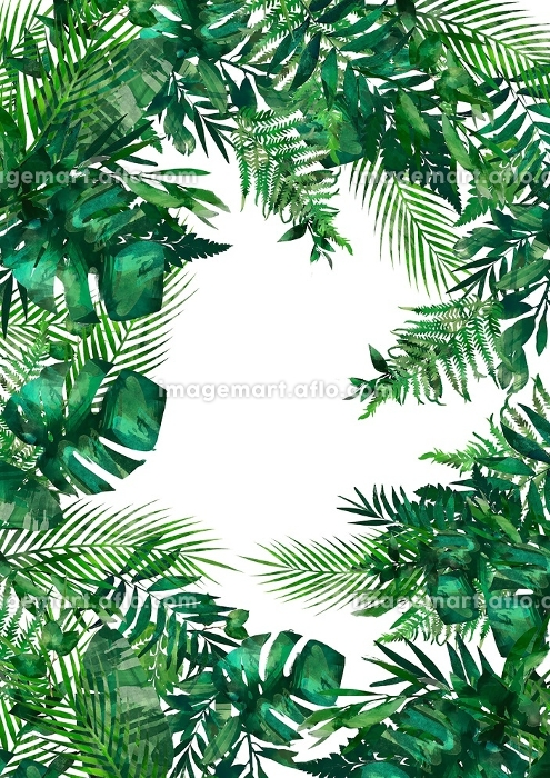 Tropical leaves frame. Circle frame. Watercolor illustration on white. Colorful floral round frame with colorful tropical leaves. Tropical forest collection.Perfect for wedding, card ,quotes