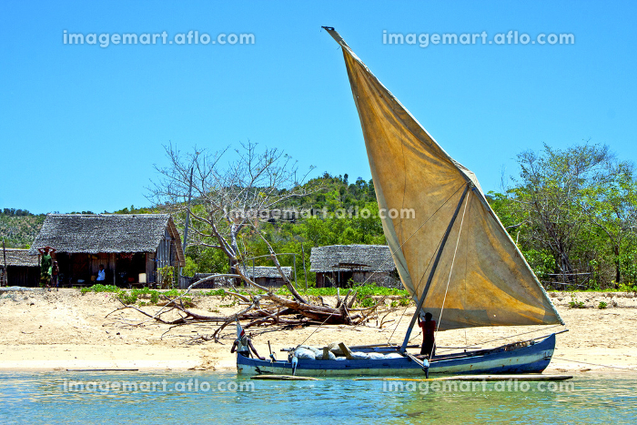 pirogue beach seaweed in indian ocean madagascar  people   sand isle      sky    and rock