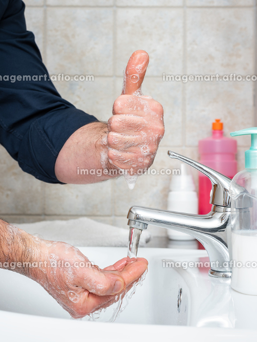 With handwashing, you can prevent infection with Coronavirus, OK. Covid-19 pandemic prevention.の販売画像