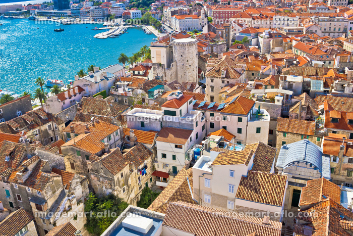 Old Diocletians palace in Split aerial viewの販売画像