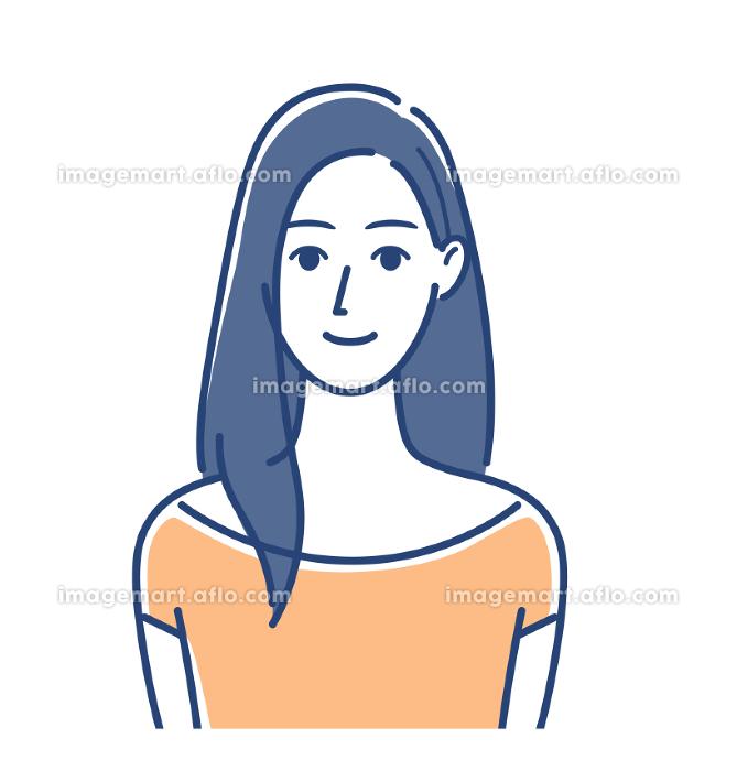 女性のイラスト ロングヘアの販売画像