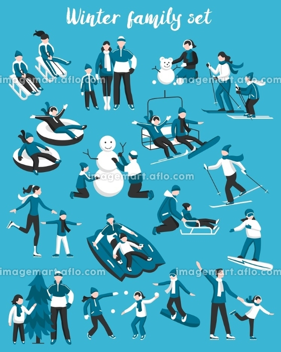 Family Winter Vacation Set. Collection of decorative icons in white and blue colors presenting family winter vacation flat vector illustration