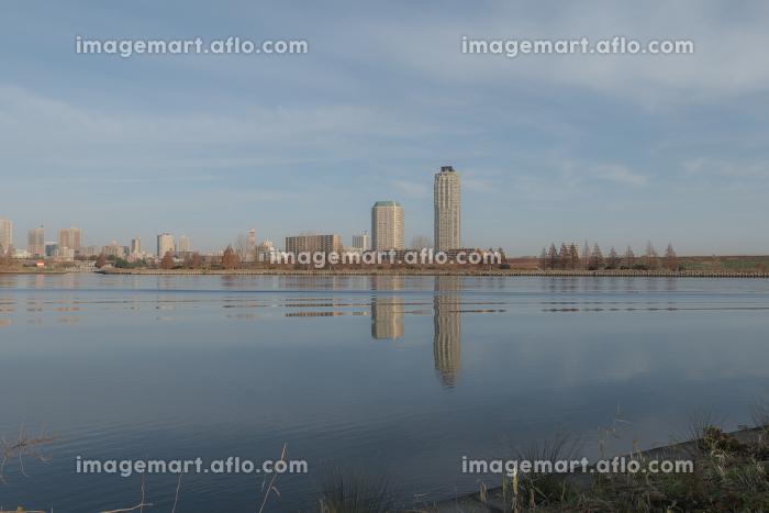 夜明けの荒川の風景 12月の販売画像
