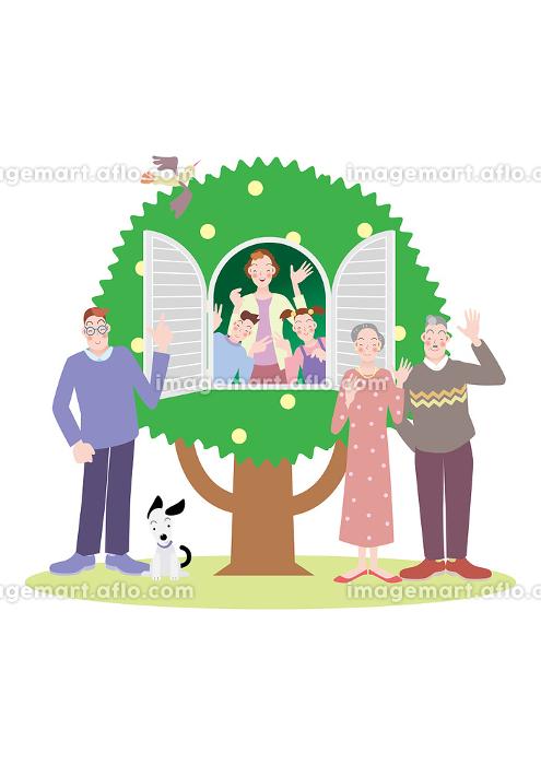 木の家の窓から笑顔の母親と姉弟と家族と犬の販売画像