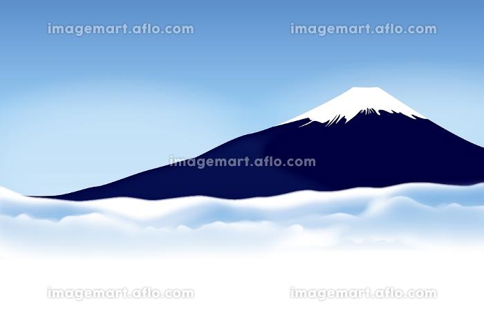 富士山と雲海 イラスト