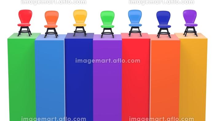 壁の上に椅子が並んでいる 虹色 3DCGインテリア ポスター カラフルの販売画像