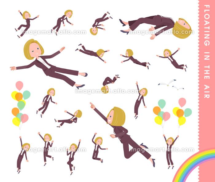 空中に浮かぶ金髪ビジネス女性のセットの販売画像