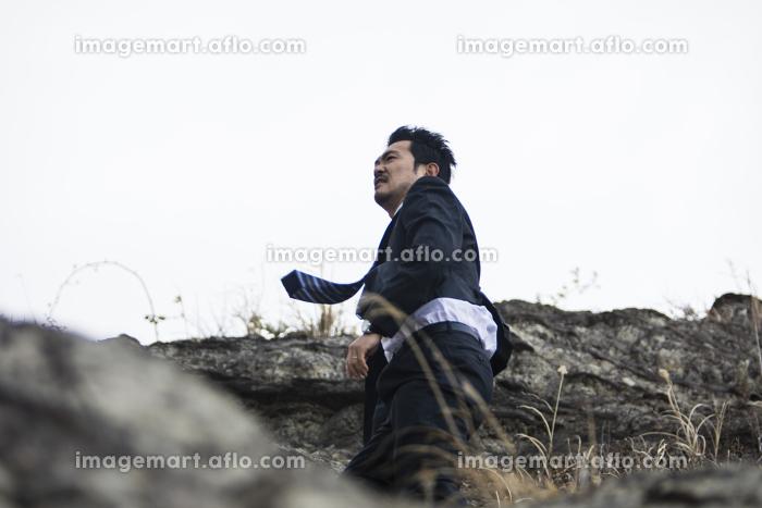 崖を登るビジネスマンの販売画像