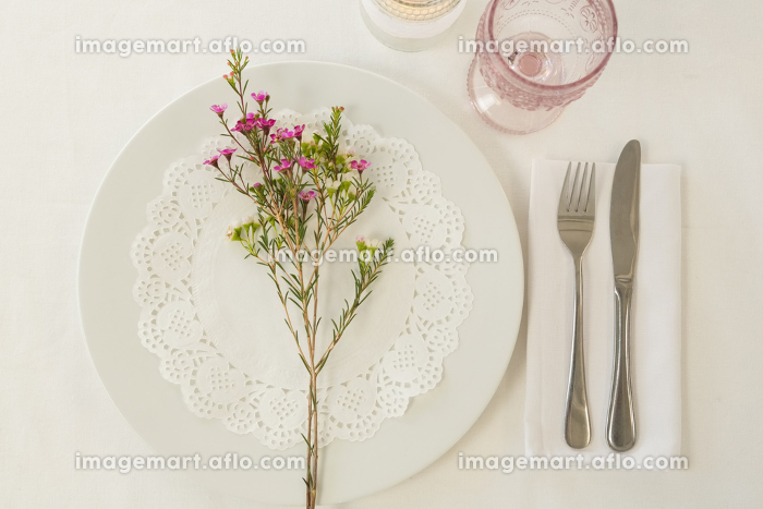 Plate and cutlery set elegantly on a tableの販売画像