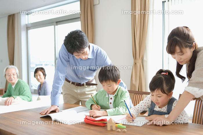 勉強をする兄弟の販売画像