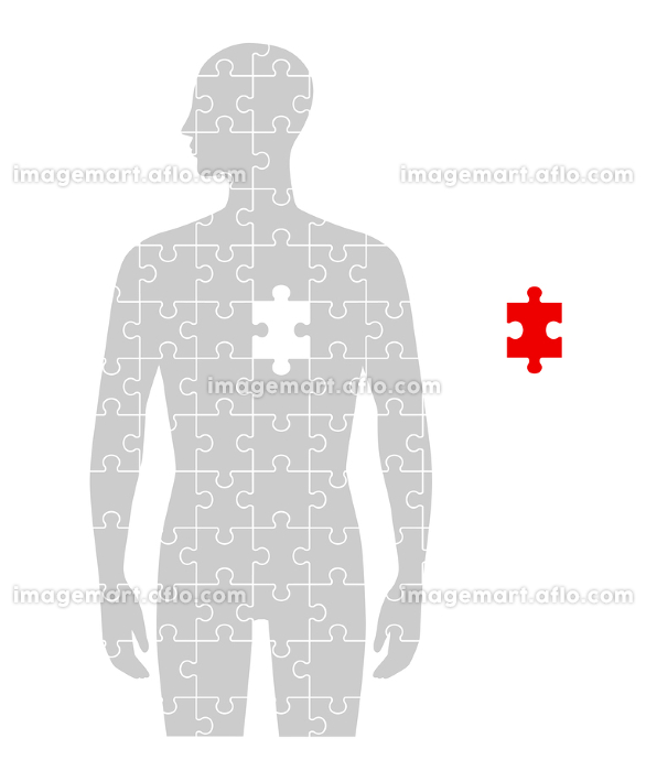 人のフォルムのパズルと心臓部分の販売画像