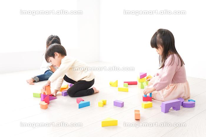 ブロックで遊ぶ子どもたちの販売画像