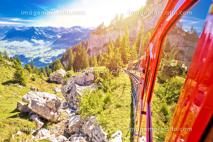 Mount Pilatus descent on worlds steepest cogwheel railwayの販売画像