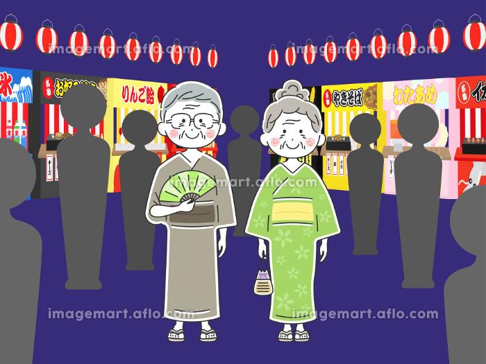 浴衣を着た年配夫婦のイラスト 夏祭りの販売画像