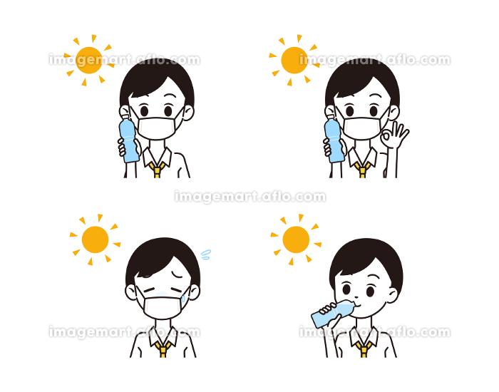 熱中症対策をする男性のイラストの販売画像
