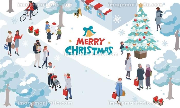 アイソメトリック クリスマスの人々 イラスト 街並み バナーの販売画像