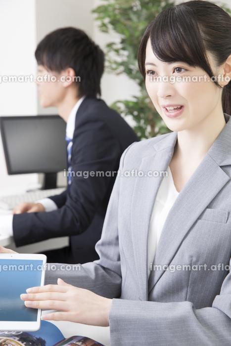 説明をする旅行代理店の女性スタッフの販売画像