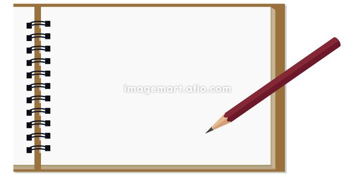 イラスト素材 スケッチブック 画用紙 紙 鉛筆 ベクターの販売画像