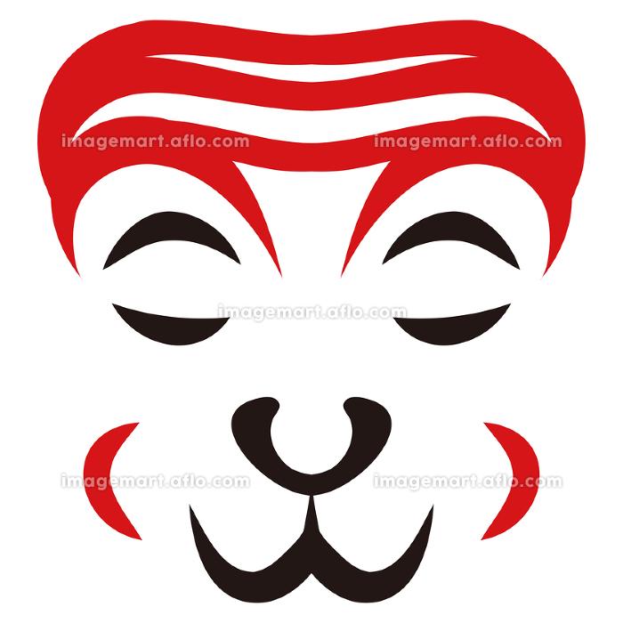 日本の伝統芸能 歌舞伎の顔のメイク 隈取り イラスト ベクターの販売画像