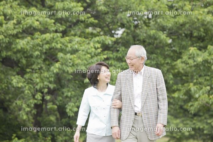 腕を組みながら公園を散歩する老夫婦の販売画像
