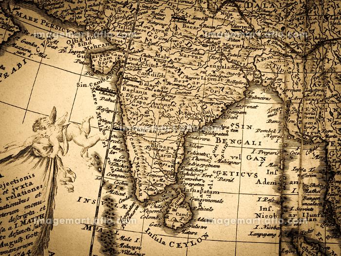 アンティークの世界地図 インドの販売画像