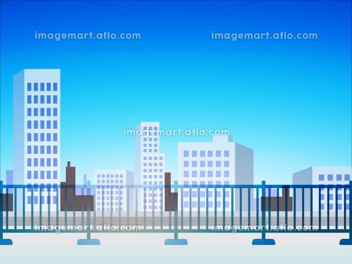 屋上からのオフィス街の風景 ベクターイラスト 背景 青空の販売画像