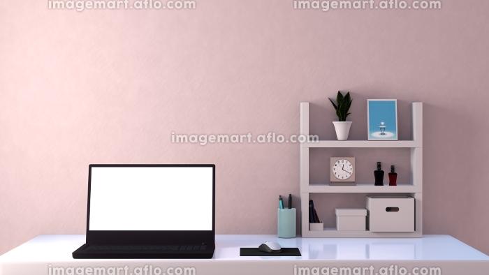 白い部屋 ラップトップ デスク 棚 3DCGインテリア ポスターの販売画像