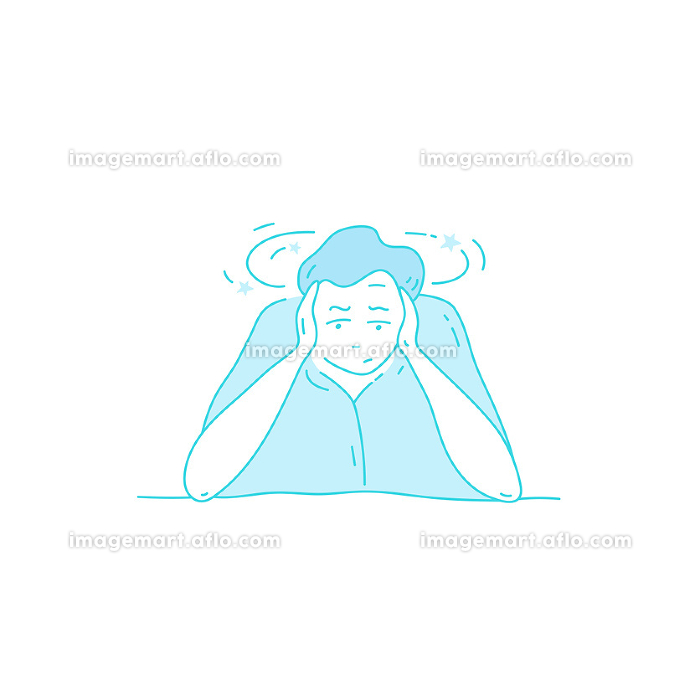 Sick stressed dizzy person Vector hand drawn illustration