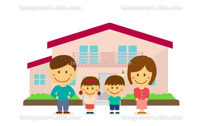 マイホーム/新築・建て替え 家族・ファミリーイラスト(デフォルメ・二頭身)の販売画像