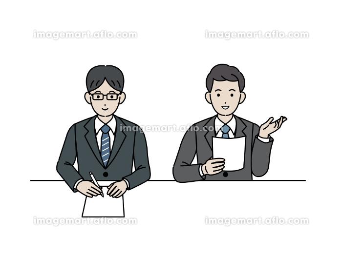 面接官 スーツを着た男性 会議 ミーティング イラスト素材の販売画像