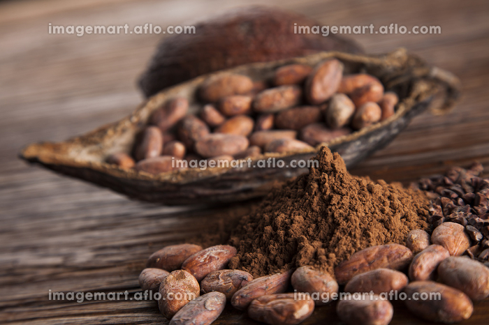Aromatic cocoa, powder and food dessert backgroundの販売画像