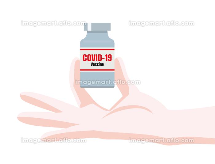 イラスト医師の手で持つ新型コロナウィルスのワクチンcovid-19医療の販売画像
