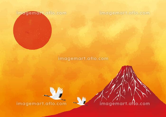 初日の出と赤富士と海:年賀状 赤富士 富士山 ご来光 初日の出 太陽の販売画像