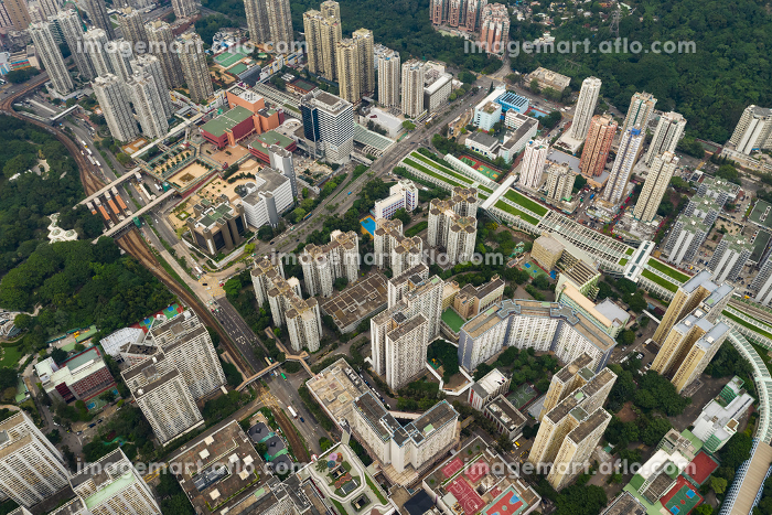Tuen Mun, Hong Kong, 09 September 2018:- Top view of Hong Kong urban downtownの販売画像