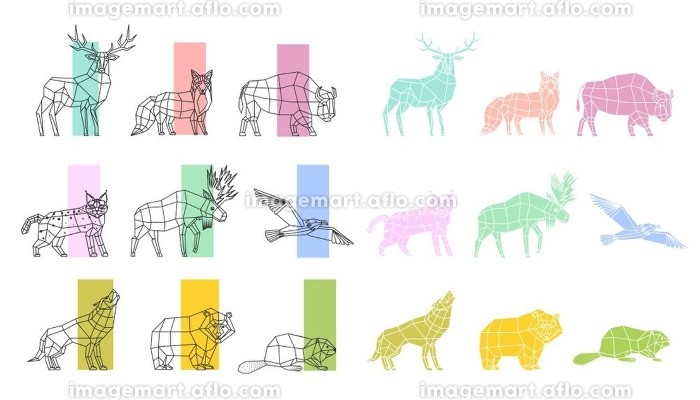 Animals Polygonal Linear Set. Wild animals and birds silhouettes polygonal linear art set isolated on white background vector illustration