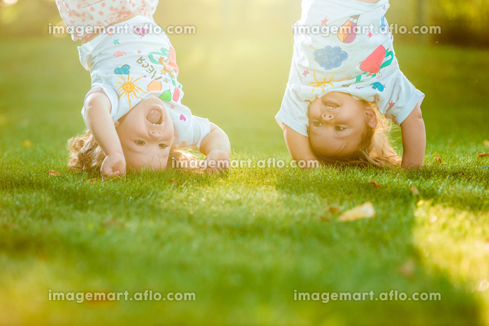 The two little baby girls hanging upside downの販売画像