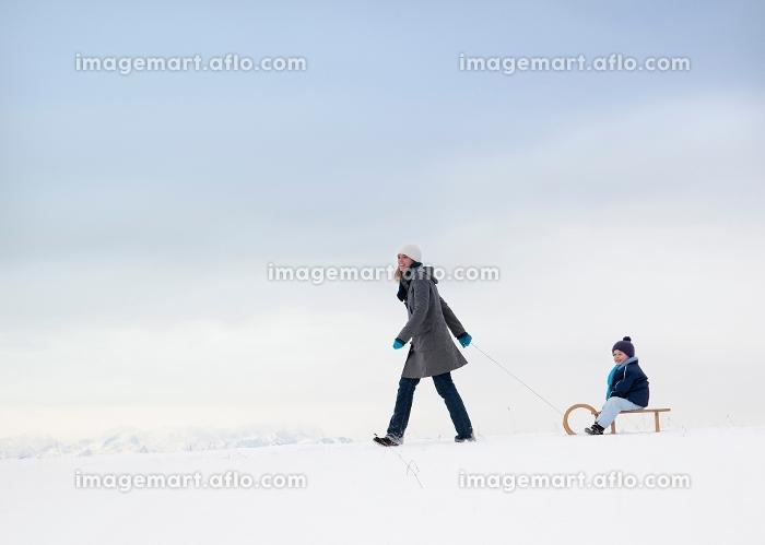 そりを引いて歩く親子の販売画像