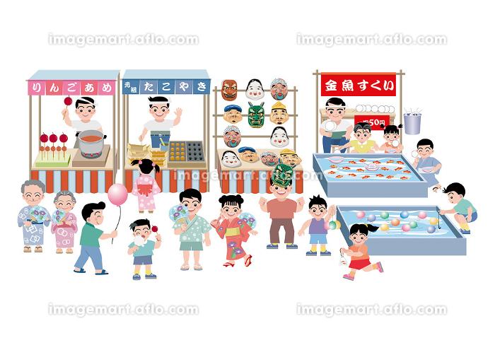 たこやき、金魚すくい、りんごあめ等の、屋台に人々が楽しんでいるの販売画像