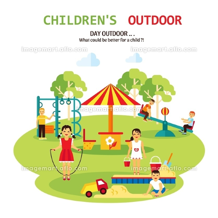 Outdoor Playground Flat Illustration. Color flat illustration with title and tagline of outdoor playground for children with sandbox seesaw and toy vector illustrationの販売画像