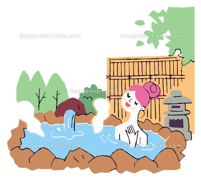 露天風呂でくつろぐ 女性