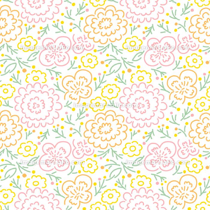シンプル線画イラストの花柄・カラフルの販売画像