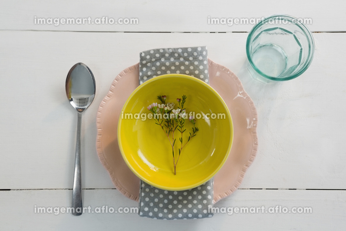 Elegance table setting on wooden plankの販売画像