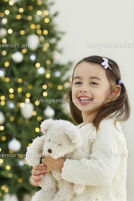 クリスマスツリーとぬいぐるみを抱いた小さな女の子の販売画像