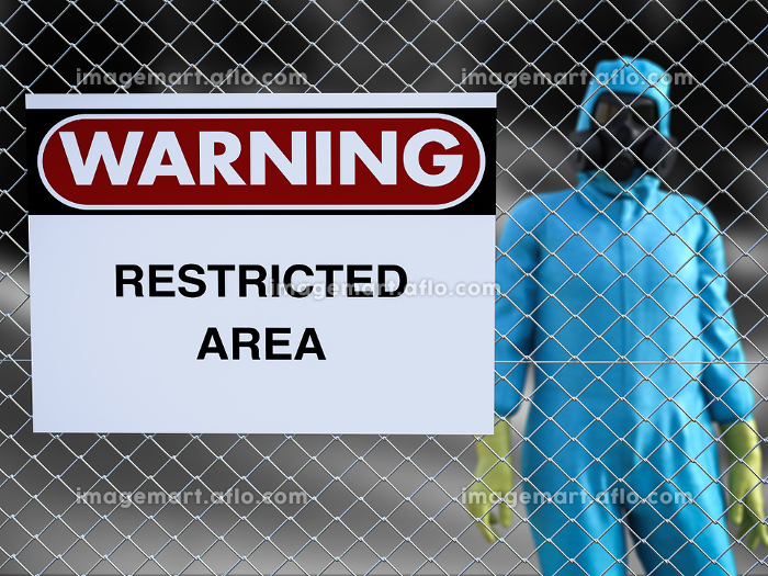 3D rendering of person in hazmat suit in restricted area.の販売画像