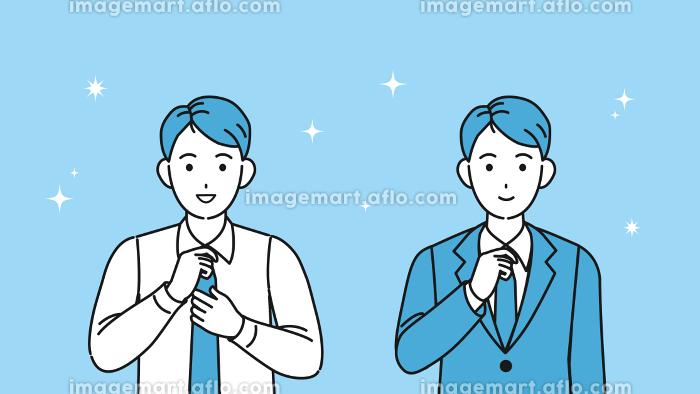 ネクイタイを締める若い男性 身だしなみ 会社員 上半身 イラスト素材の販売画像